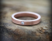 Rose gold diamond ring - 3mm recycled 14K rose gold band with flush set diamond