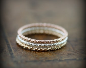 Faceted stacking ring in sterling silver or gold filled, textured skinny ring