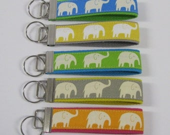 KEY FOB/ WRISTLET Key Chain - Choice of Colors - Elephant Fabric and Webbing