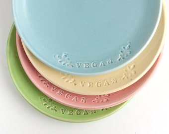 Vegan Dish - Set of 4 Sandwich Plates - Dessert Plates - MADE TO ORDER