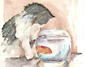 Popular Items For Watercolor Cat On Etsy
