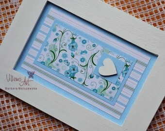 FramedArt  - shabby chic blue heart scrapbooking pattern art in frame by VillemoArt - FR0007