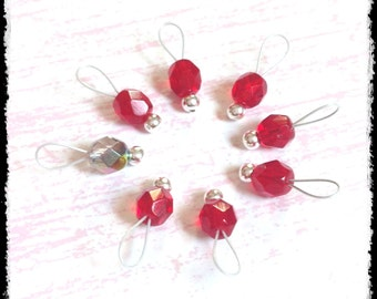 Snag Free Stitch Markers Extra Small Set of 8-- Red Faceted Czech Glass -- J3 -- For up to size US 4 (3.5mm) Knitting Needles