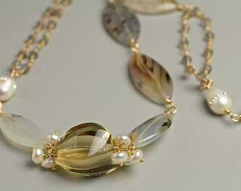 Citrine, Montana Agate and Pearls Statement Necklace