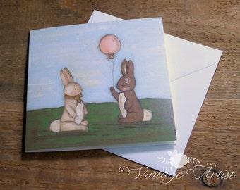 Baby Birthday Card Snuggle Meets Rose Card - print blank inside 5 x 5 inch (127 x 127 mm)
