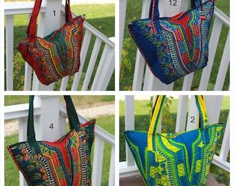 African Fabric, Dashiki Bag, African Bag, African Purse, Fair Trade, Shoulder Bag, Tote, Carryall