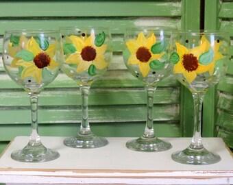 Custom Hand Painted Sunflower Wine Glasses, Country Decor