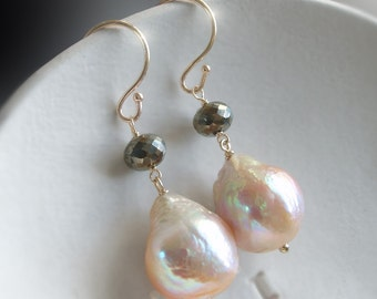 14K Kasumi Like Pearls with Pyrite