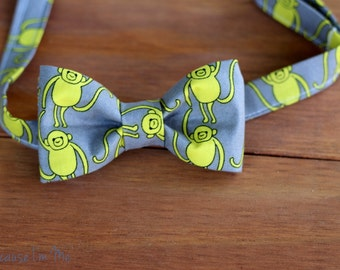 SALE Last Available - Boys Bow Tie - Monkeying Around - green yellow monkeys gray cotton bow tie for infant toddler child, pre-tied bowtie