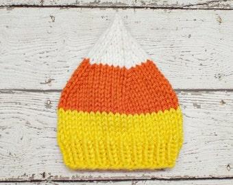 Knit Hat Womens Hat - Candy Corn Hat Candy Corn Beanie - Yellow Hat Orange Hat White Hat Knit Hat Womens Accessories
