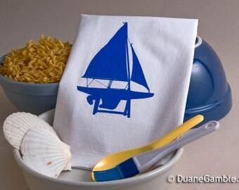 Flour Sack Towel, Screened Printed - Cotton Flour Sack, Handmade, Xmas Gift, Galley, Hostess Gift, Fathers Day, Nautical, Model Sailboat