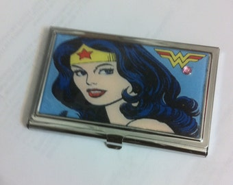 Blue Wonder Woman Business Card Holder Credit Card Case