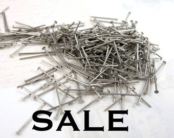 Rhodium Plated Short Headpins (13mm) (20Grams - approx 500x) (F522) SALE - 50% off