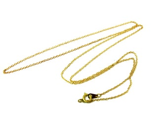 Vintage Yellow Brass Cable Chain Necklaces (24 inches) (C505)