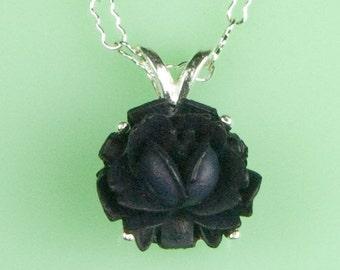 Vintage Black Rose Necklace