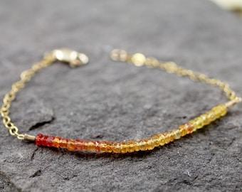 Songia Sapphire Gold Fill Bracelet - Yellow, Red , Orange Precious Gemstone Gold Bracelet