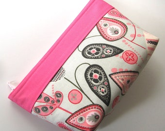 Pink Cosmetic Pouch Grey and Pink Makeup Bag Small Makeup Pouch Cosmetic Bag