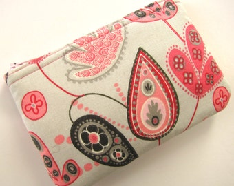 Grey and Pink Coin Pouch, Zipper Pouch, Coin Purse