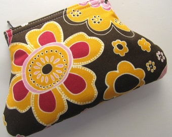 Brown and Gold Floral Curvy Coin Pouch, Zipper Pouch, Coin Purse