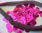 Vintage Sequins Strand HOT MAGENTA PINK Metallic couture full strand 6mm flat