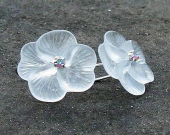 Snow White Moonflower Earrings, Frosted Lucite with Swarovski Crystals, Hook Earwires... Floral Jewelry Gift for Her