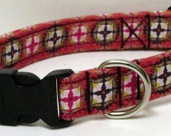 Simply Stunning Medallion Printed Handmade Dog Collar ONE LEFT Size LARGE