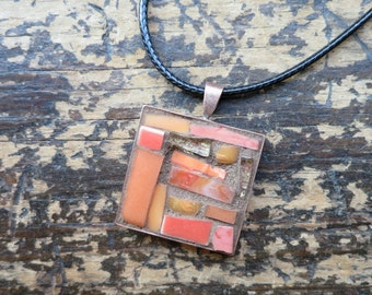 Golden Peach Mosaic Pendant