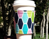 FREE SHIPPING UPGRADE with minimum -  Fabric coffee cozy / cup holder / coffee sleeve  -- Hexagons in navy lime aqua