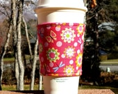 Fabric coffee cozy / cup sleeve / coffee sleeve  - Butterflies and Flowers on Pink