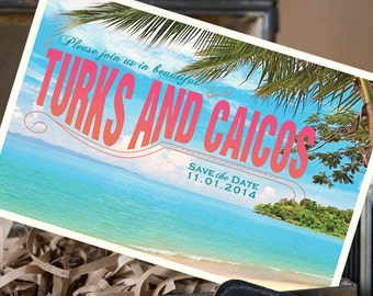 Vintage Postcard Save the Date (Turks and Caicos) - Design Fee