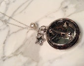 Working Compass Necklace with Sundial Glass Front Silver Tone