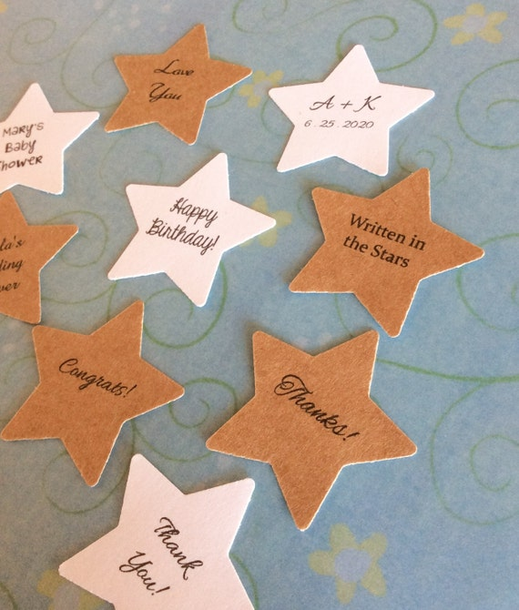 Stickers Star tags, birthday tags, favor tags, wedding favors, product labels - 1 1/2 inch set of 50