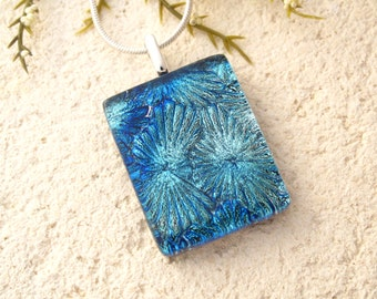 Silver Blue Necklace, Dichroic Jewelry, Blue Necklace,  Fused Glass Jewelry, Dichroic Glass Pendant, Dichroic Necklace, Fireworks,072516p102