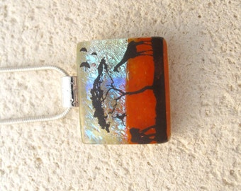 Elephant Giraffe Jungle - Petite Dichroic Glass Jewelry - Dichroic Pendant -  Dichroic Fused Glass Jewelry - Safari Necklace 091114p104