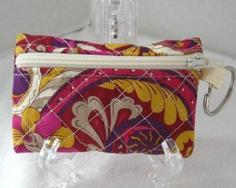 Quilted Coin Purse Paisley -  Magenta Gold - Change Purse with Keychain