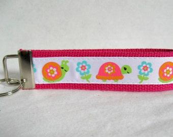 Turtle Key Fob PINK Snail Key Chain Wristlet Spring Key Chain