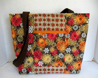 Quilted Large Purse -  Brown Orange Floral Tote - Outside Pocket - Large Handmade Purse
