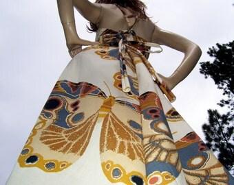Maxi Moth Sundress Butterfly Earthy Tones Festival Hippie Wedding Gypsy Aline Long Dress Resort Cruise Summer Vacation Adult S M L XL