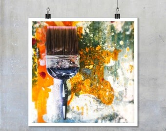 Still Life Photography: artists studio paint watercolour yellow orange texture abstract pattern wall art home decor - 7x7 12x12 18x18 22x22