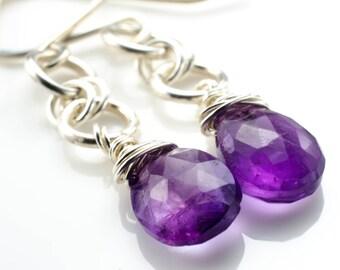 Amethyst Silver Chain Earrings February Birthstone