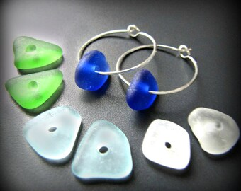 Sea Glass Jewelry Hoop Earrings - Four Pairs of Drilled Seaglass, Sterling Silver w/Blue, Green, White & Aqua - 8 pieces total. Jewellery