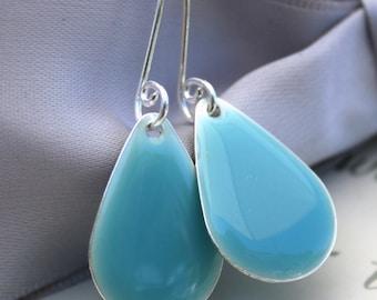 Robin's Egg Blue Teardrop Raindrop earrings