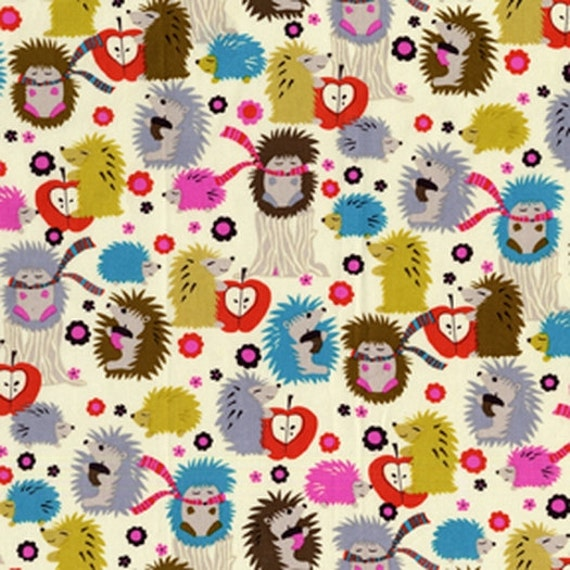 Michael Miller Hedgehog Meadow Cream Fabric - 1 Yard