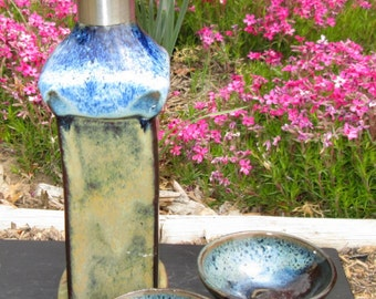 CLEARANCE Olive Oil or Soy Bottle and Two Dipping Dishes - Rutile Blue and Brown