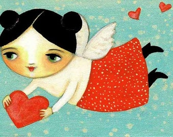 FLYING ANGEL Valentine cupid with heart folk art PRINT of painting by tascha