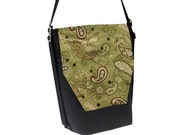 Convertible Backpack - Sling Purse - Shoulder Bag - iPad Purse - REMOVABLE FLAP - Green Paisley Fabric