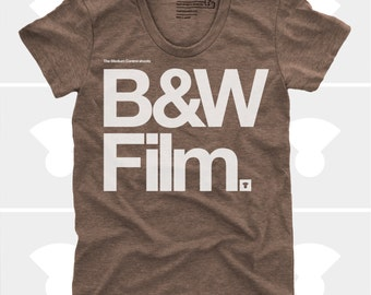 Women's TShirt Black & White Film (Women), Womens Top, S,M,L,Xl, Film Camera Typography Shirt (4 Colors) for Women