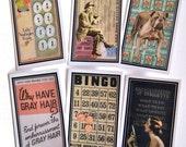 Vintage Ephemera Gift Cards - Set of 6 - Vintage Photos - All Occasion - Birthday - Fun & Funky - Digital File - DIY -