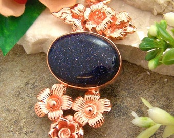 Sale: Blue Goldstone and Copper Flower Pendant