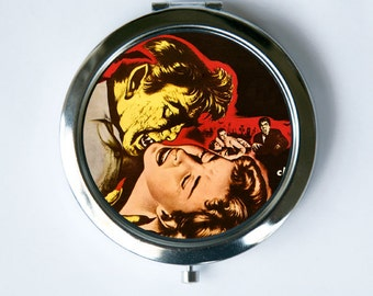Vampire biting Girl Compact Mirror Pocket Mirror Horror b-movie creepy punk psychobilly gothic